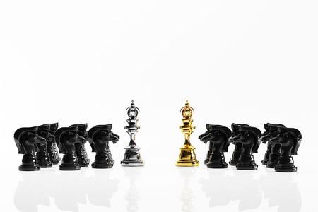 battle: Knight chess battle on the background 3D render. idea concept Stock Photo