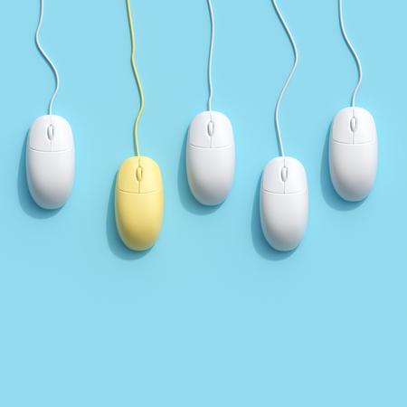 Mouse del computer giallo eccezionale tra il mouse del computer bianco su sfondo blu. concetto di idea minima. posa piatta.