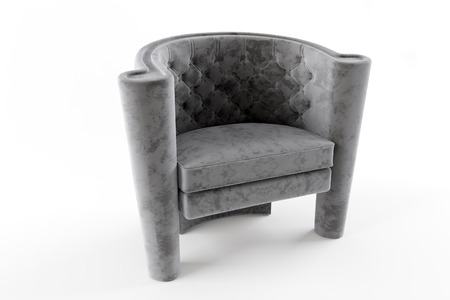 recliner: Gray chair fabric chesterfield