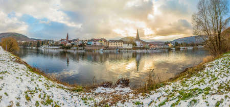 Panorama of a small town on the river. Neckargemünd on the river Neckar in southern Germany