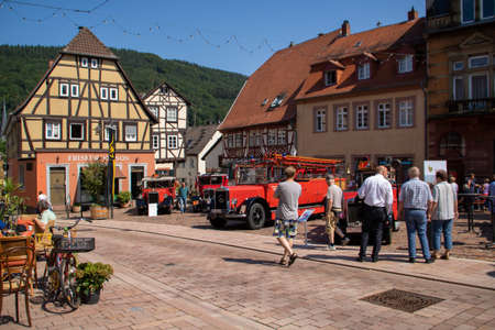 Neckargemuend, Germany: July 16, 2018: Exhibition of old, historical fire engines on the market place of Neckargemuend, a small town in southern Germany. Editorial