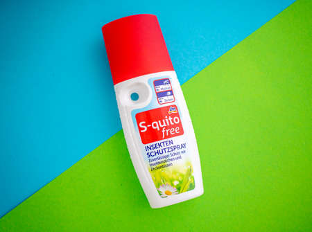 Neckargemuend, Germany: Jan 4, 2021: Bottle of insect repellent spray of the Brand