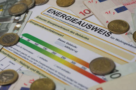 Form energy certificate for a proof of energy efficiency in German language