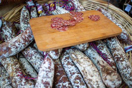 Neckargemuend, Germany: September 6, 2019: salami at a gourmet market with French products