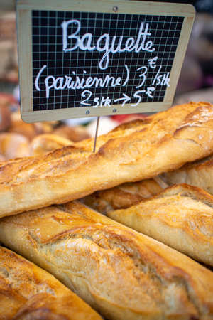 Neckargemuend, Germany: September 6, 2019: Several baguettes displayed at a gourmet market with French products