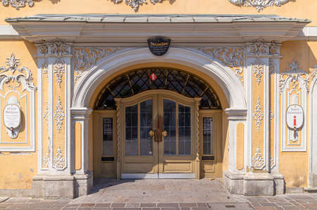 Wurzburg, Germany: August 9, 2015: House facade and entrance of the municipal Tourist Information in Wuerzburg, Bavaria, as a contact point for tourists.