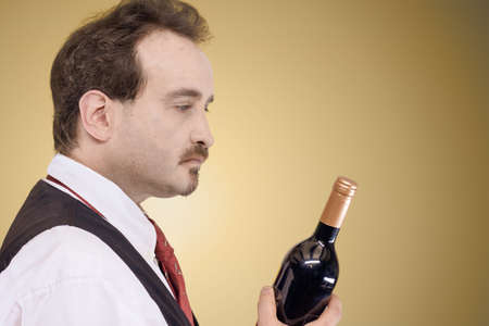 Man in white shirt, vest and tie looking at a bottle of wine in front of a light pastel background Standard-Bild