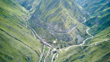 Aerial of Nariz del Diablo, devil's nose, a famous railroad track in the andes of Ecuador, so steep, it has to zig zag up the mountains with reversing into dead ends, South America Stock Photo