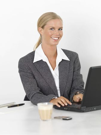 businees: Young, fresh female businesswoman with computer