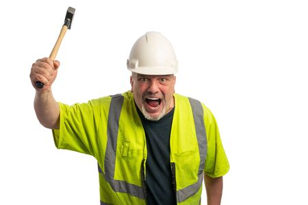a construction worker with helmet and hammer screams and gestures wildly