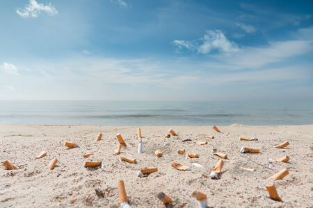 pollution on the beach due to many cigarette fag Imagens