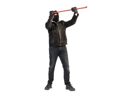 burglar with crowbar and mask against a white background