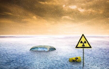 a nuclear ice desert after nuclear accident with fallout