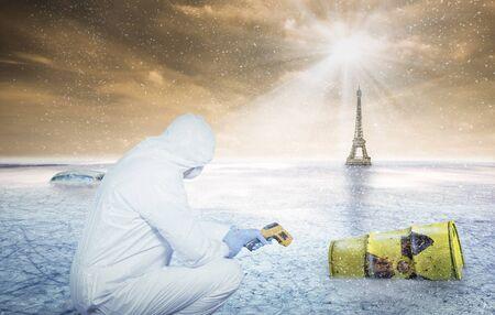 a scientist examines a barrel with rdioactive waste in an abandoned scenario