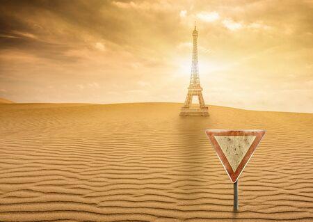 an uninhabitable desert city due to climate change