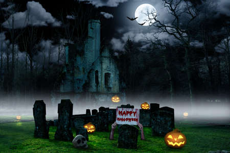 a halloween background with a cemetry with pumpkins and a castle