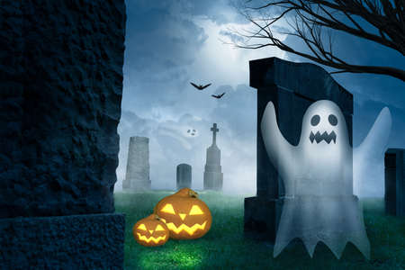 a spooky halloween with pumpkins and a ghost on a cemetery Imagens