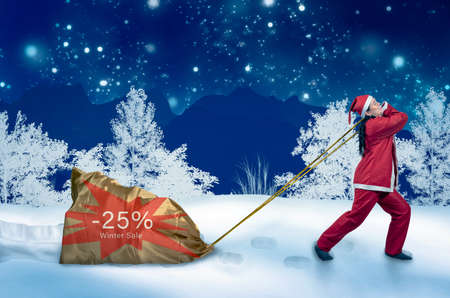 25 percent winter sale advertising with elf pulling gift sack in snowy landscape Stockfoto