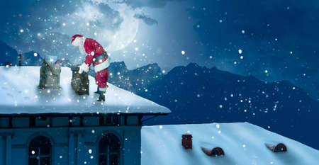 Santa Claus stands on a snowy roof and looks into the chimney Zdjęcie Seryjne