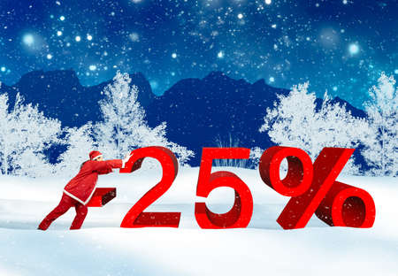 25 percent winter sale advertising with an elf in the wintery landscape Stockfoto