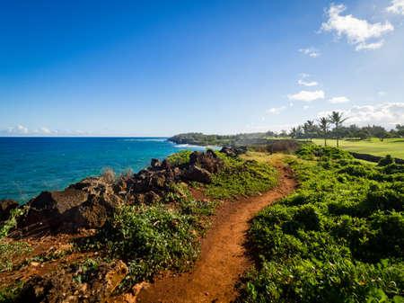 Maha' elepu Heritage Trail, near Shipwreck Beach and Poipu Golf Course, Koloa, Kauai, Hawaii, USA Banco de Imagens - 82241378