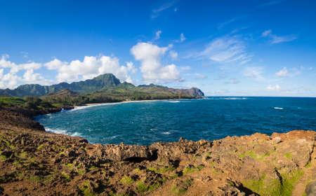 Gillen Beach van Maha 'elepu Heritage Trail, in de buurt van Shipwreck Beach, Koloa, Kauai, Hawaii, Verenigde Staten Stockfoto