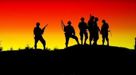 veterans: the shiluette of soldiers