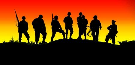 el shiluette de soldados Foto de archivo