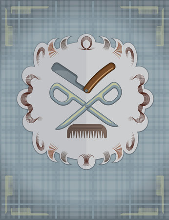 hair mask: Scottish background in a cage with a mask of a razor, scissors and combs