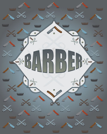scissors comb: pattern with scissors comb and razor Illustration