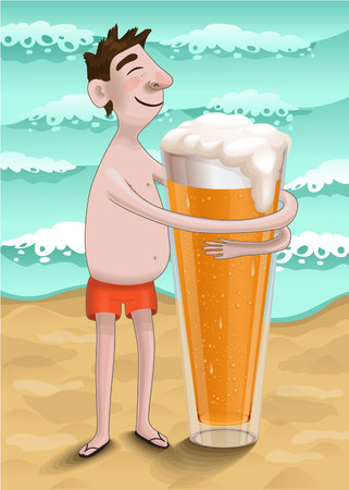 beer belly: a man on the beach hugs a glass of beer Illustration