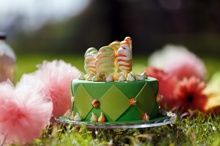 Cupcake with green icing and Happy St-Pat's Day written on it. It is on a white background with other cupcakes in the background. 免版税图像