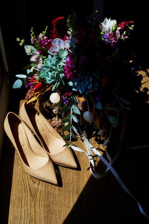 Bruiloft, Boeket, Blad, Decoratie, Tafel. Succulentus, schoenen Stockfoto