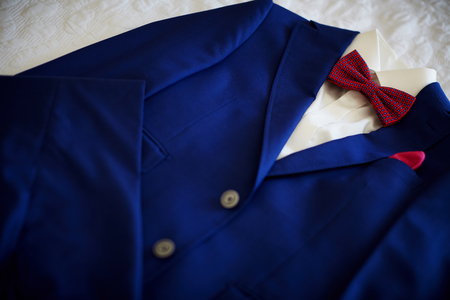 Blue suit with tie and handkerchief. Focused on handkerchief. Stock Photo