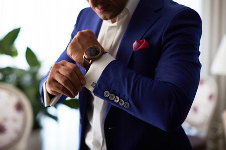 Kijken, kijken, Mannen, Klok, Elegantie Stockfoto