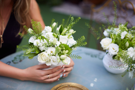 humility: Beautiful wedding bouquet in hands