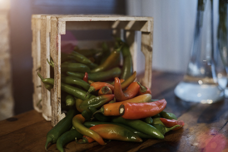 chiles picantes: assorted hot peppers Foto de archivo