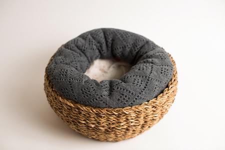 interleaved: wicker basket isolated on white
