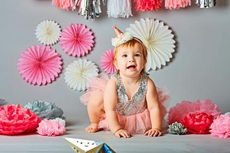 Baby girl and her birthday Stock Photo