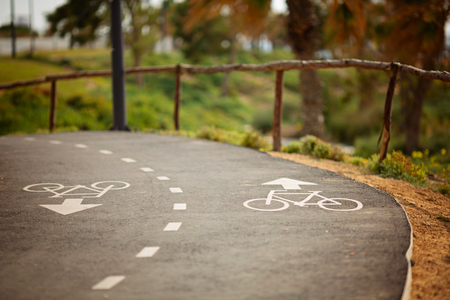 Bicycle lane , Bicycle path signage on the street. Stock Photo