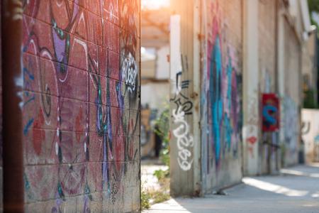 TEL AVIV, ISRAEL, may, 2018. Graffiti in the wall in the Florentine district of Tel Aviv, Israel.