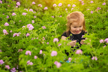 Smiling girl standing amidst blooming plants on sunny day in countryside Stock Photo
