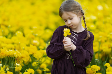 Little girl with buttercup flower in the field