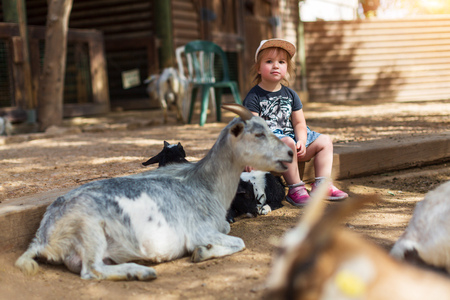 Girl and her beloved goats on the farm