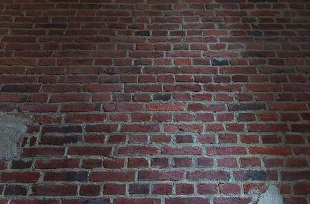 Large Red Brown Old Shabby Brick Wall Background Texture. Horizontal Retro Urban Brickwall Wallpaper 写真素材