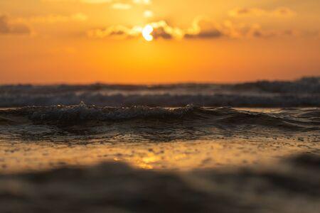 Beautiful golden sunset over the sea in autumn