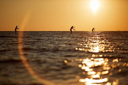 three people rowing on a surfboard to the horizon in the open sea beautiful scenic sunset