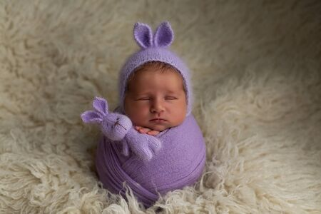 newborn baby girl pose cocoon with ears on the head and a bunnies toy on a white background. first photo session of a newborn Reklamní fotografie