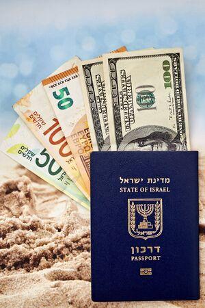 Israeli citizen international passport hundred dollar bills euro and shekels
