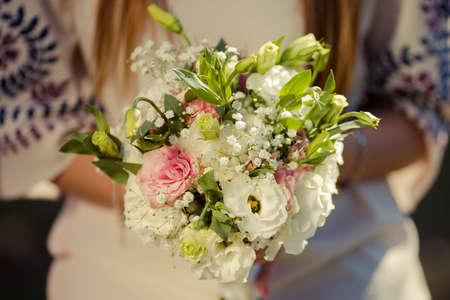 Florist hands with big floral bouquet Stok Fotoğraf